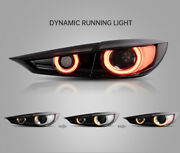 Vland Modded Smoke Led Tail Lights W/ Sequential Turn For 14-18 Mazda 3 Sedan