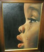Richard A Schultz Tear Drops African American Girl Oil On Board Painting 1975