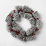 Threshold 17.5 Glittered And Frosted Pine Cone W/ Red Berries Winter Wreath B100