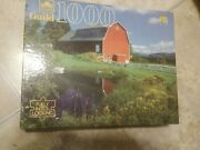 Golden Guild 1000 Piece Red Barn Pond Barnyard Jigsaw Puzzle Vintage New Sealed
