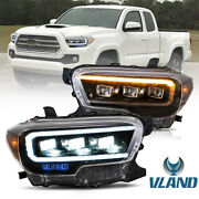 Vland Amber Sidereflector Full Led Projector Headlights For 16-21 Toyota Tacoma