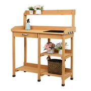 Garden Potting Bench Table Outdoor Planting Work Cabinet Shelf With Water Tank
