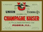 Champagne Kaiser Beer Label 12 X 16 Metal Sign
