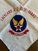 Vintage 1953-54 Lackland Air Force Base Texas Scarf With Embroidered Insignia