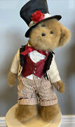 Vintage Boyds 18 Inch Stuffed Boy Christmas Bear W/ Tags Necklace And Stand