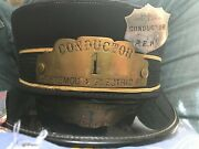 Old Portsmouth N.h. Electric Railway Conductor 1 Railroad Employee Badge Hat