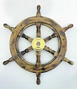 Antique Wooden Ship Wheel 19 Inch Vintage Maritime Ships Pirate Wall Decor Home
