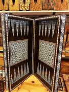 3in1 Large Wooden Board Rare Set Travel Game Compendium Antique Chess Backgammon
