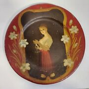 Antique Vienna Art Plate Tin Litho Woman Holding A Candle 10 In 1905 Unusual