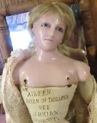 23 C1880 English Poured Wax Doll From Museum Portrait Aileen Queen Of Dollock