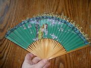 Antique 1800's Set Of 2 Pleated Folding Hand Fans Handpainted