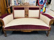 Antique 1800s Eastlake Settee Victorian Parlor Sofa Couch Burled Walnut Carved
