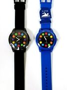 New Geneva Blue, Black Silicone Band,colorful Marker,water Resistant Watch-3 Atm