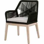 Transitional Wooden Arm Chair With Rope Weave Design Set Of 2 Black