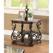 Traditional Solid End Table With Glass Inset, Metal Scrolls And 2 Shelves, Brown