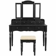 3 Piece Wooden Vanity Set With Trifold Mirror And Padded Stool, Black