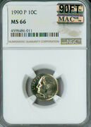 1990-p Roosevelt Dime Ngc Mac Ms66 90ft Pq Very Rare Spotless 6000.00 In Ft