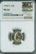 1990-d Roosevelt Dime Ngc Mac Ms66 90ft Pq 2nd Finest Rare Spotless 2000 Ft
