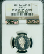 2001 Canada Beaver Silver 5 Cents Ngc Pf70 Uhcam Mac Solo Finest Spotless