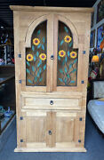 Mexican Rustic Pine Corner China Hutch Sunflowers Metal Art Country Farmhouse