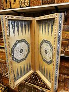 3in1 Antique Rare Egyptien Backgammon Chess Set Board Handmade Wood Travel Game