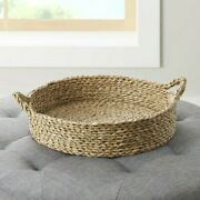 Better Homes Gardens 16 Round Natural Colored Water Hyacinth Woven Tray Basket