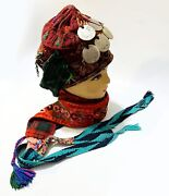 Antique Embroidery Silver Middle Eastern Palestinian Women Cap 1880 Heritage Old