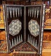 3 In1 Antique Rare Egyptien Backgammon Chess Set Board Handmade Wood Travel Game