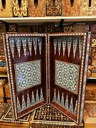 3 In 1 Antique Rare Persian Backgammon Chess Set Board Handmade Wood Travel Game