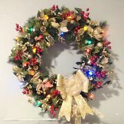 Handmade Christmas Wreath 38 Diameter Lighted Pine/holly/gold Ribbon And Bows