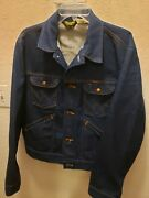 Vintage Wrangler Denim Trucker 1960and039s Made In Usa Jacket Size 46 Rare Find