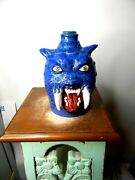 Stacy Lambert Blue Saber Tooth Tiger Jug Pottery Folk Art 8.and039and039 X5and039and039