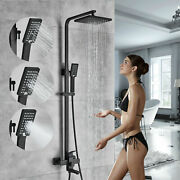 Matte Black Shower Faucet System Bathroom Rainfall Head Combo With Handle Spray