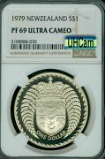 1979 New Zealand Silver 1 Dollar Ngc Pf-69 Uhcam Mac 2nd Finest And Spotless