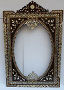 4 Feet Height Morocco Handmade Wood Wall Hanging Mirror Frame Mop Floral Inlaid