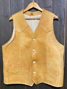 Vintage Rare Western Hand Made Menand039s Cowboy Mtn Man Leather Vest Bone Buttons Xl