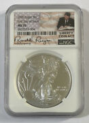 2020 Silver Eagle First Day Of Issue Ngc Ms70 Liberty Coin Act Reagan Signature