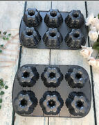 2 Nordic Ware Cast Iron Mini Bundt Festival Muffin Cake Pans Holiday Baking Gray