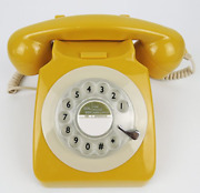 Classic Antique Rotary Retro Landline Desk Phone For Home And Officemustard