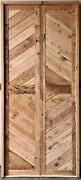 Rustic Reclaimed Double Square Door Solid Wood Doug Fir Chevron Pattern No Stain