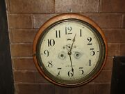 Early 1900s Antique Seth Thomas Oak Wall Round Clock With Second Hand