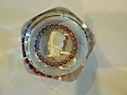 1967 St. Louis Cristal Faceted King Louis Ix Sulphide And Millefiori Paperweight