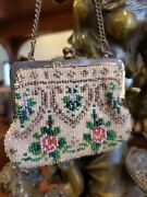 Antique Victorian Miniature Child Beaded Purse - Floral Roses