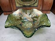 Antique Millersburg Green Carnival Ruffled Glass Bowl Whirling Leaves - 10