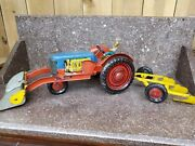 Rare Antique Childand039s Metal Tractor And Plow Push Toy - Working