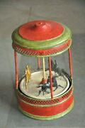 Rare Early German Vintage Wind Up Handpainted Horse Carousel Tin Toygermany