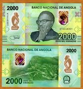 Angola 2000 Kwanzas 2020 P-new Polymer Unc Complete Redesign