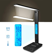 Alarm Clock Lamp Led Desk Foldable Dimmable Light Touch Screen Memory Function