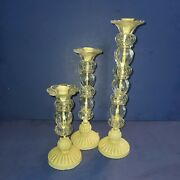 Vintage Cast Iron Thick Glass Candlesticks Shabby Farmhouse French Country 3pc