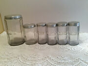 Vintage Hoosier Cabinet Ribbed Coffeeteacanister Plus Spices Glass Jars 4